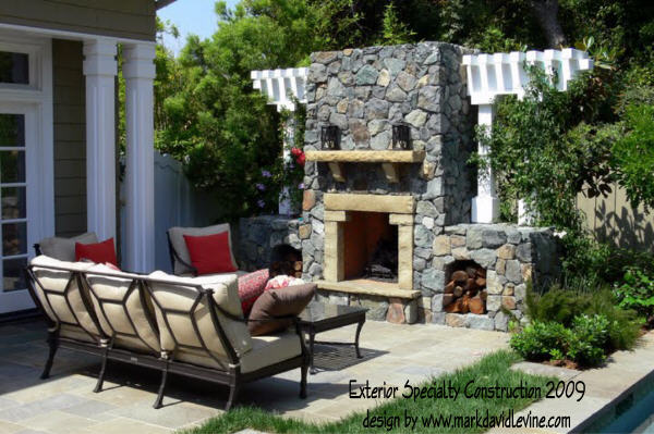 Outdoor fireplace and column details