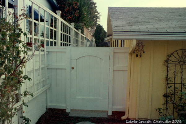 Paneled gate and trellis fence